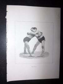 Badminton Library 1893 Antique Wrestling Print. The Hold